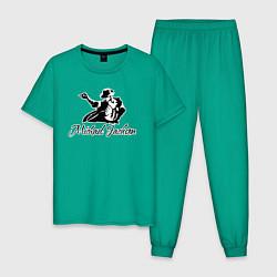 Пижама хлопковая мужская Танцующий цвета зеленый — фото 1