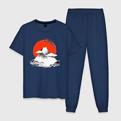 Пижама хлопковая мужская Гора Фудзияма цвета тёмно-синий — фото 1