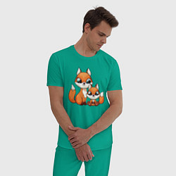Пижама хлопковая мужская Милые лисята цвета зеленый — фото 2