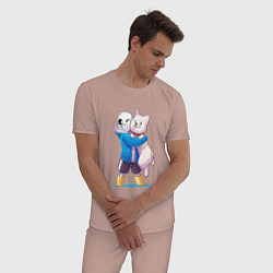 Пижама хлопковая мужская UNDERTALE цвета пыльно-розовый — фото 2