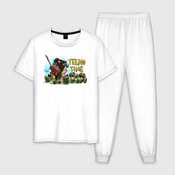 Пижама хлопковая мужская Тимо цвета белый — фото 1
