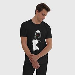 Пижама хлопковая мужская Обыденность цвета черный — фото 2