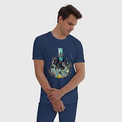 Пижама хлопковая мужская Эволюция от Доктора Камня цвета тёмно-синий — фото 2