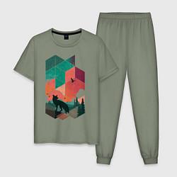 Пижама хлопковая мужская Геометрический пейзаж цвета авокадо — фото 1