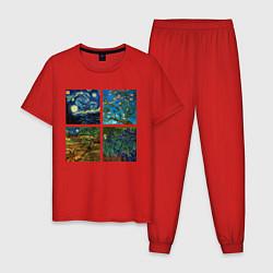 Пижама хлопковая мужская Ван Гог картины цвета красный — фото 1