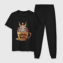 Пижама хлопковая мужская Magic Coffee цвета черный — фото 1