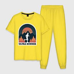 Пижама хлопковая мужская Бег цвета желтый — фото 1