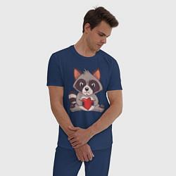 Пижама хлопковая мужская Енотик с Сердечком цвета тёмно-синий — фото 2