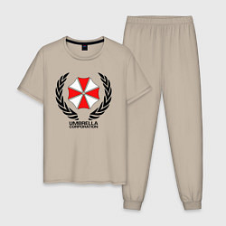 Пижама хлопковая мужская UMBRELLA CORP цвета миндальный — фото 1