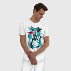 Пижама хлопковая мужская Hatsune Miku Expo цвета белый — фото 2