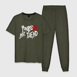 Пижама хлопковая мужская Punks not dead цвета меланж-хаки — фото 1