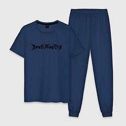 Пижама хлопковая мужская DMC НА СПИНЕ цвета тёмно-синий — фото 1