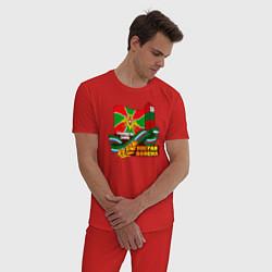Пижама хлопковая мужская Погран Войска цвета красный — фото 2