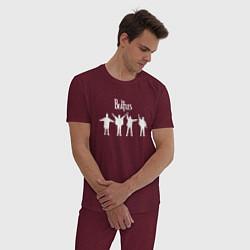 Пижама хлопковая мужская Beatles цвета меланж-бордовый — фото 2