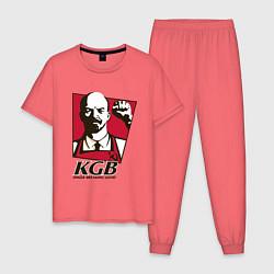 Пижама хлопковая мужская КГБ цвета коралловый — фото 1