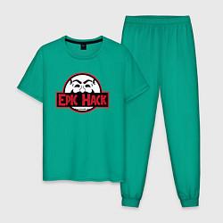 Пижама хлопковая мужская MRROBOT цвета зеленый — фото 1