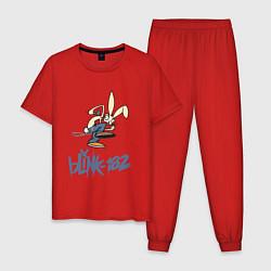 Пижама хлопковая мужская BLINK-182 цвета красный — фото 1
