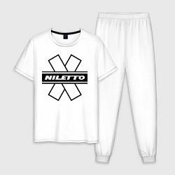 Пижама хлопковая мужская NILETTO цвета белый — фото 1