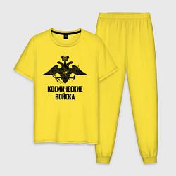 Пижама хлопковая мужская Космические войска цвета желтый — фото 1
