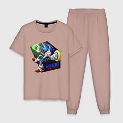 Пижама хлопковая мужская СОНИК цвета пыльно-розовый — фото 1