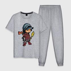 Пижама хлопковая мужская PUBG цвета меланж — фото 1