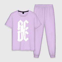 Пижама хлопковая мужская ACDC цвета лаванда — фото 1