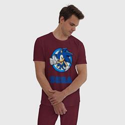 Пижама хлопковая мужская SONIC SEGA цвета меланж-бордовый — фото 2