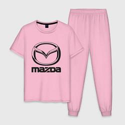 Пижама хлопковая мужская MAZDA LOGO цвета светло-розовый — фото 1