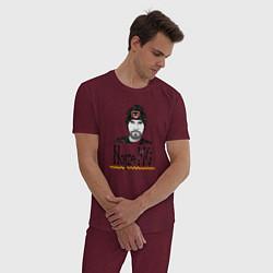 Пижама хлопковая мужская Noize MC цвета меланж-бордовый — фото 2