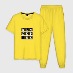 Пижама хлопковая мужская Black Pink цвета желтый — фото 1