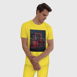 Пижама хлопковая мужская Neon in the city цвета желтый — фото 2