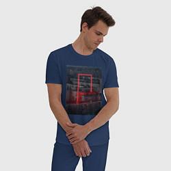 Пижама хлопковая мужская Neon in the city цвета тёмно-синий — фото 2