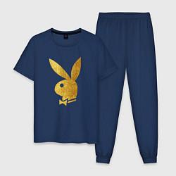 Пижама хлопковая мужская PLAYBOY GOLD цвета тёмно-синий — фото 1