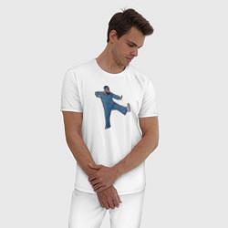 Пижама хлопковая мужская Little Big: UNO цвета белый — фото 2