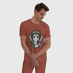Пижама хлопковая мужская Ганеш цвета кирпичный — фото 2