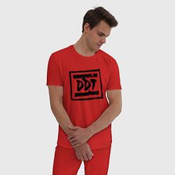 Пижама хлопковая мужская ДДТ Лого цвета красный — фото 2
