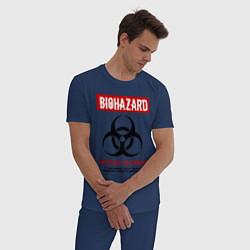 Пижама хлопковая мужская Biohazard цвета тёмно-синий — фото 2