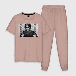 Пижама хлопковая мужская Sam Winchester цвета пыльно-розовый — фото 1