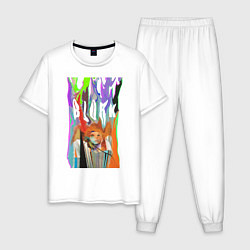 Пижама хлопковая мужская Bjork цвета белый — фото 1