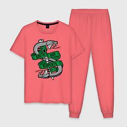 Пижама хлопковая мужская SERPENTS цвета коралловый — фото 1