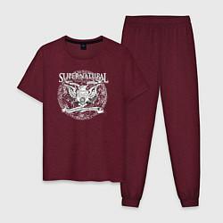 Пижама хлопковая мужская Saving People Hunting Things цвета меланж-бордовый — фото 1