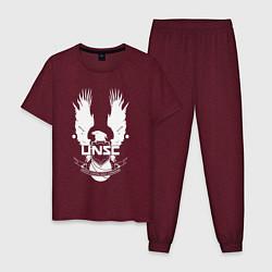 Пижама хлопковая мужская HALO UNSC цвета меланж-бордовый — фото 1