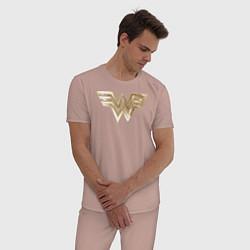 Пижама хлопковая мужская Wonder Woman logo цвета пыльно-розовый — фото 2