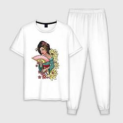 Пижама хлопковая мужская ГЕЙША цвета белый — фото 1