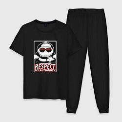 Пижама хлопковая мужская ЮЖНЫЙ ПАРК цвета черный — фото 1