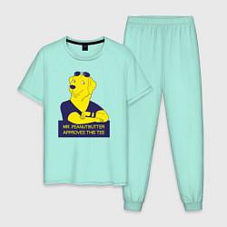 Пижама хлопковая мужская Mr Peanutbutter цвета мятный — фото 1