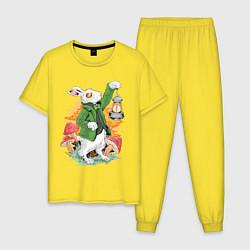 Пижама хлопковая мужская Кролик цвета желтый — фото 1