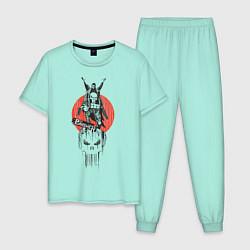 Пижама хлопковая мужская Каратель цвета мятный — фото 1