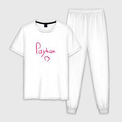 Пижама хлопковая мужская Payton Moormeier сердце цвета белый — фото 1