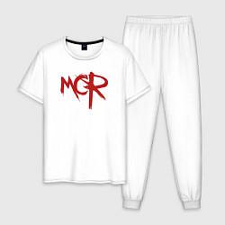 Пижама хлопковая мужская MCR цвета белый — фото 1